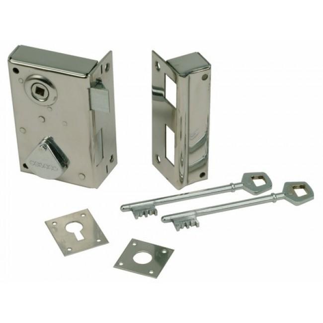 Serrure en acier inox, modèle 229, en applique verticale, clefs à 4 gorges DEVISMES