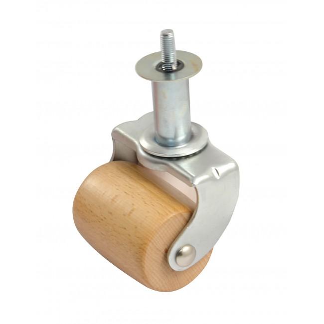 Roulette en bois sur platine tube zingué  - charge 100 kg AVL