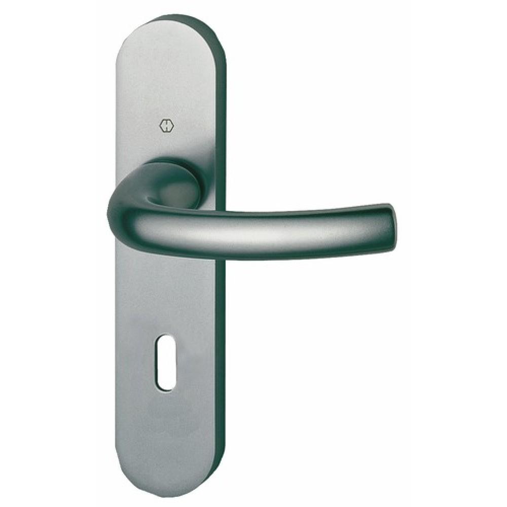 poign es de porte tokyo sur petites plaques aluminium aspect inox hoppe br. Black Bedroom Furniture Sets. Home Design Ideas