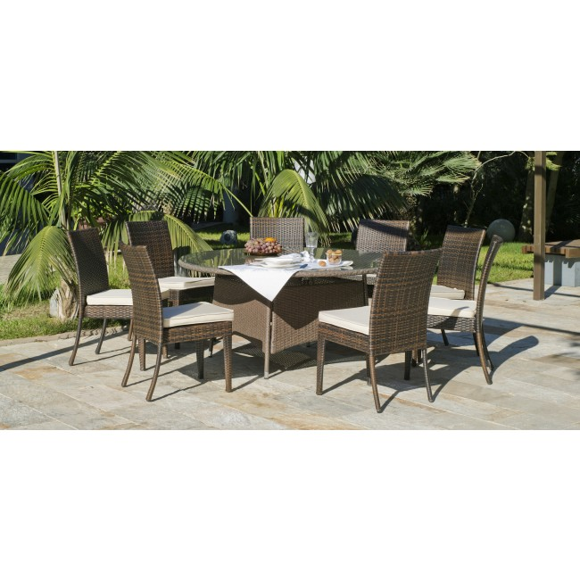 Table de jardin Tatiana 150 : 1 table 150 cm et 8 chaises Marzia, coussins ecru INDOOR OUTDOOR