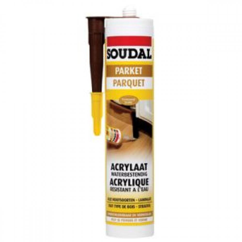 mastic de rebouchage en acrylique pour parquet 310 ml soudal bricozor. Black Bedroom Furniture Sets. Home Design Ideas