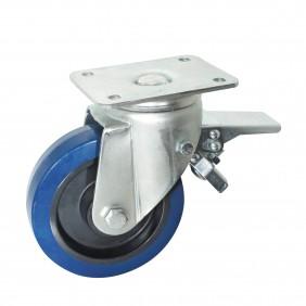 Roulette caoutchouc bleu sur platine pivotante à frein AVL