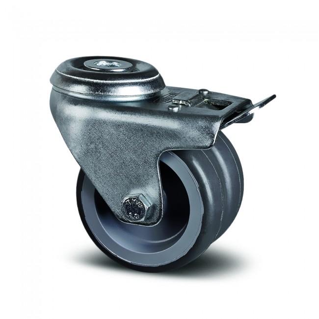 Roulette pivotante à frein double galet - fixation œil - Agila Twin TENTE