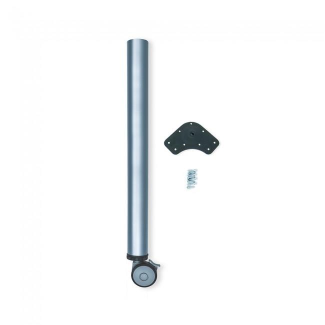 Pied de table à roulette à frein - hauteur réglable - 60 mm - gris EMUCA