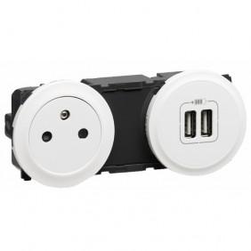 Prise de courant fort - 2P+T + chargeur double USB - Céliane LEGRAND