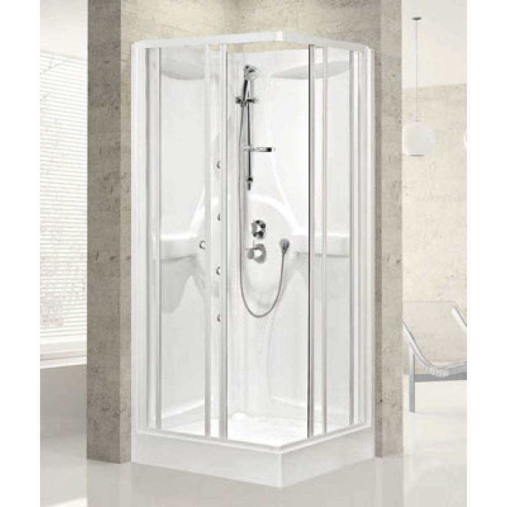 Cabine De Douche 80x80 Portes Coulissantes Media A Thermostatique Bricozor
