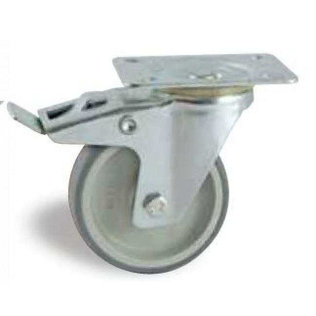 Roulette à bandage synthétique sur platine pivotante à frein AVL