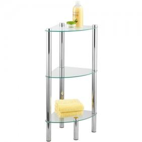 Étagère de salle de bain d'angle - Yago - 3 tablettes en verre WENKO