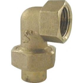 Coude union - laiton - 3 pièces femelle à joint sphéro-conique ANQUIER