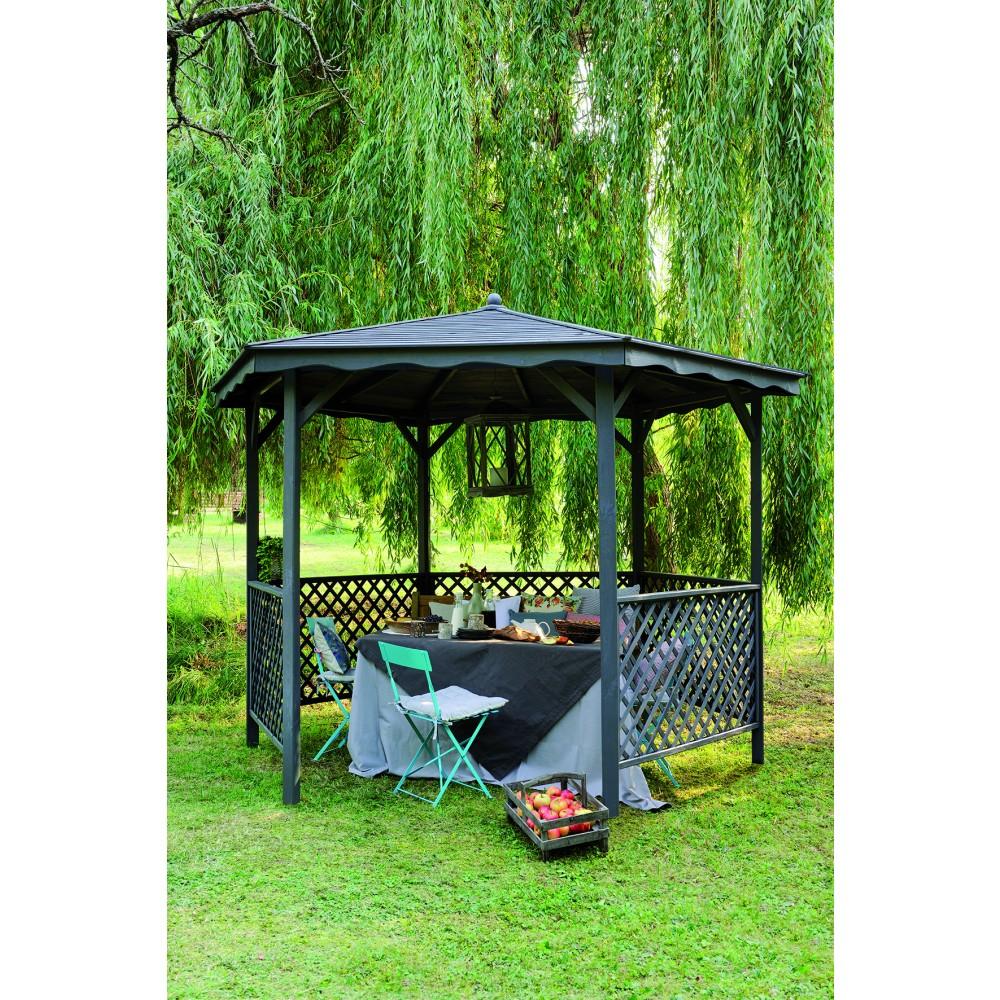Kiosque En Bois Hexagonal tonnelle hexagonale en bois - diamètre 320 cm - lora jardipolys