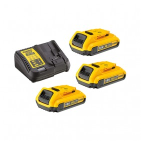 Pack 3 batteries XR 18V 2Ah Li-ion + chargeur DEWALT