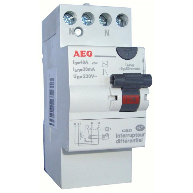Interrupteur différentiel avec bornes étagées - 40 A 30 mA AEG