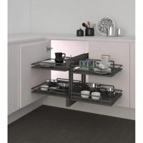 Panier coulissant 839 Compact 2 pour meuble d'angle - Ellite INOXA