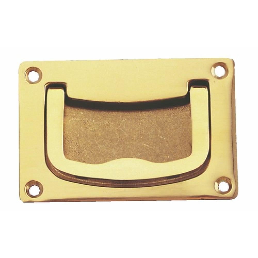 Poign e rectangulaire encastrable marine en laiton - Poignee de porte coulissante encastrable ...