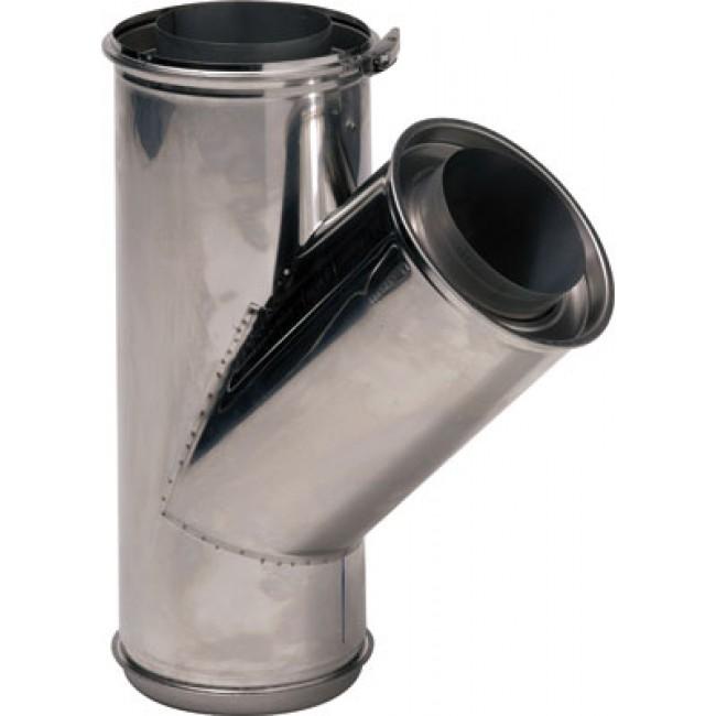 Té à 135° double paroi inox avec bride de sécurité - Opsinox