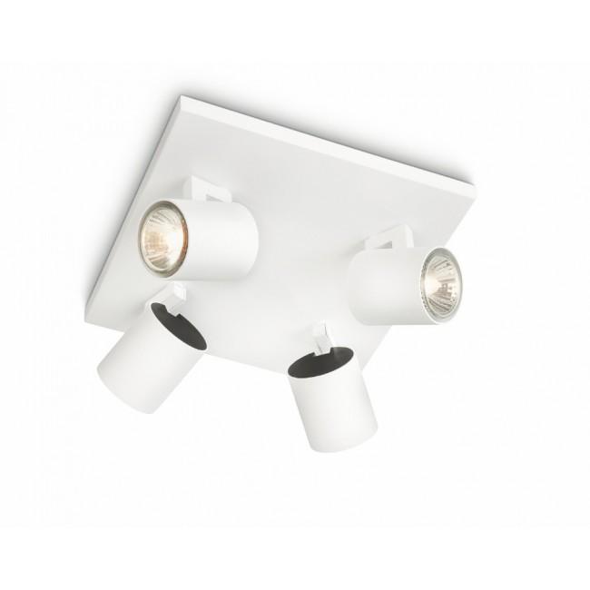plafonnier blanc 4 spots orientables gu10 50 w runner bricozor. Black Bedroom Furniture Sets. Home Design Ideas
