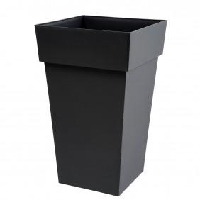 Pot carré haut anthracite - 39 x 39 cm - 62 litres - Toscane 13635 EDA PLASTIQUES