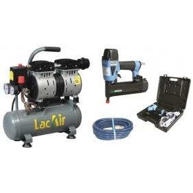 Compresseur d'air à piston 660 w Silent 6/6SH et agrafeuse cloueuse Lacmé