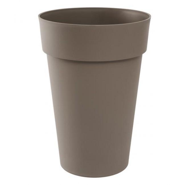 Pot haut rond 46 cm taupe - 67 litres - Toscane 13630 EDA PLASTIQUES
