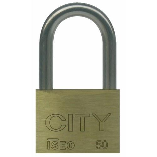 Cadenas à clé - corps laiton - anse longue en acier cémenté - City