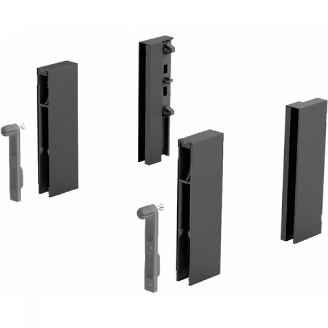 Adaptateurs DesignSide anthracites pour tiroir ArciTech-hauteur 124 mm HETTICH