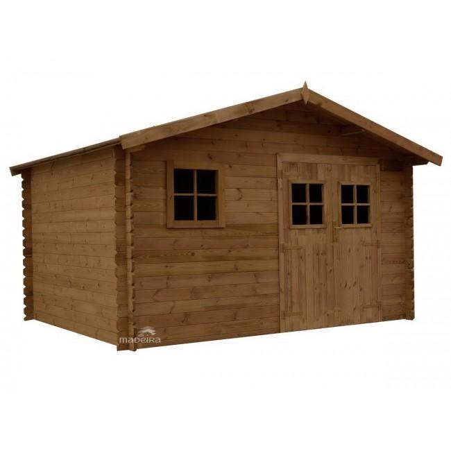 Abri de jardin en bois trait marron surface 9 8 m2 for Abri bois traite