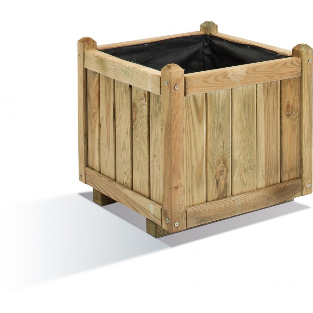 bac fleurs en bois carr 52 litres 46 x 46 cm. Black Bedroom Furniture Sets. Home Design Ideas