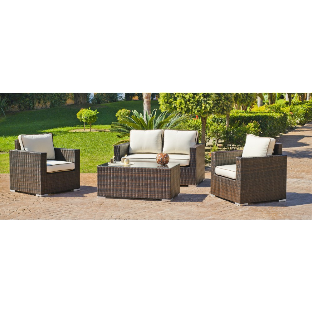 salon de jardin orotava 7 1 canap 2 places 2 fauteuils et 1 table basse avec coussins cru. Black Bedroom Furniture Sets. Home Design Ideas