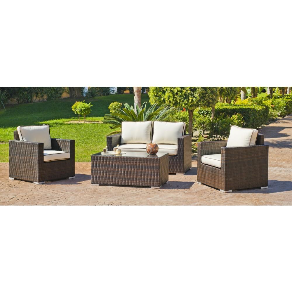 Salon de jardin Orotava 7 : 1 canapé 2 places, 2 fauteuils et 1 ...