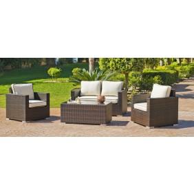 Salon de jardin Orotava 7 : 1 canapé 2 places, 2 fauteuils et 1 table basse, avec coussins écru et passepoil marron INDOOR OUTDOOR