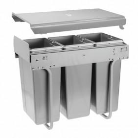 Poubelle coulissante pour tri-sélectif 3 bacs 10 litres - Practi Eco GTV