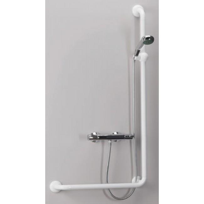 Barre de douche + maintien en L (90°) blanc PELLET ASC