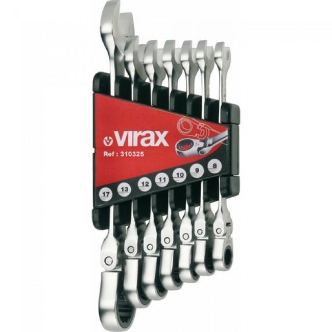 Jeu de 7 clés mixtes à cliquet à tête flexible 8-17 mm - 310325 VIRAX