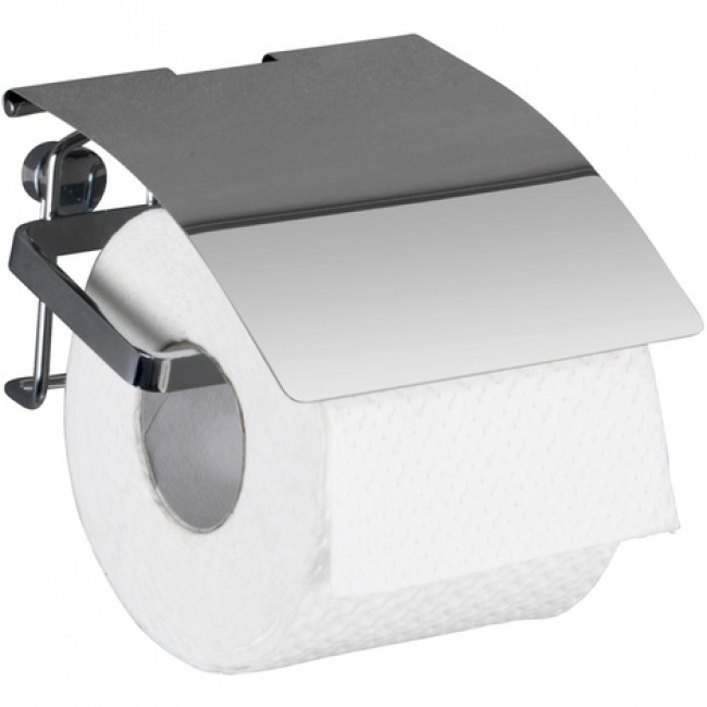 Dérouleur papier wc -support mural avec couvercle - acier inox WENKO