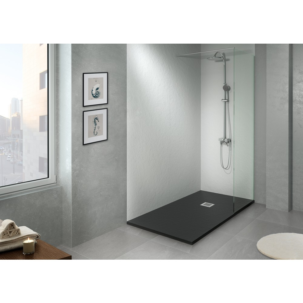 panneau de douche mural 80 x 220 90x220 120x220 mm noir gris ou beige bathluxe bricozor. Black Bedroom Furniture Sets. Home Design Ideas