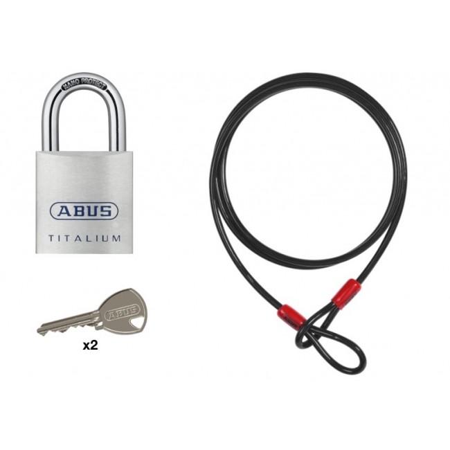 Cadenas anse acier cémenté 80TI/50 Titalium et câble Cobra 10/200 ABUS