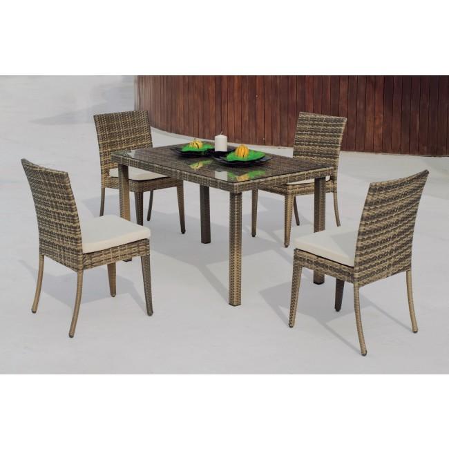 Table de jardin Abasari 130 : 1 table + 4 chaises + 4 coussins HEVEA