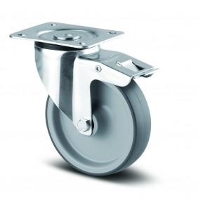 Roulette pivotante blocage total - caoutchouc non tachant - Alpha TENTE
