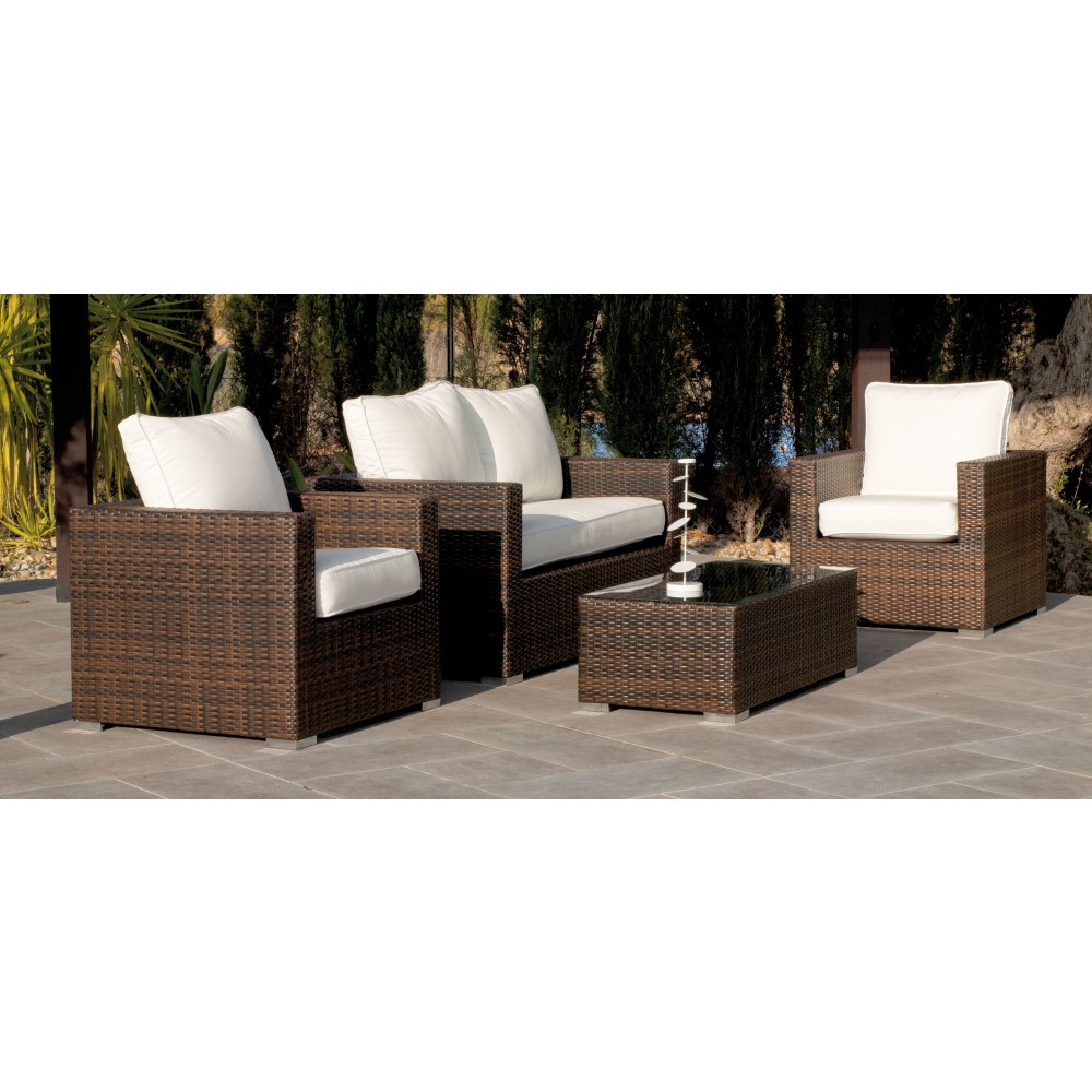 salon de jardin casanova 7 1 sofa 2 places 2 fauteuils 1 table basse avec coussins ecru. Black Bedroom Furniture Sets. Home Design Ideas