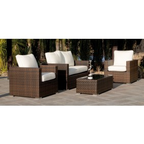 Salon de jardin Casanova 7 : 1 sofa 2 places, 2 fauteuils, 1 table basse, avec coussins ecru INDOOR OUTDOOR