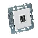 Mécanisme USB double 2.1A + cache blanc + support métal - Casual DEBFLEX