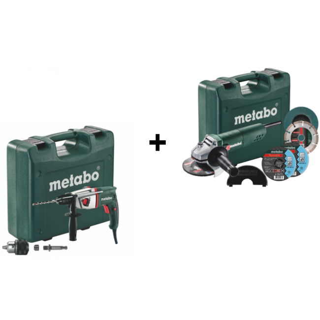 Perforateur SDS+ 800W BHE 2644 + meuleuse 125mm 750W + accessoires METABO