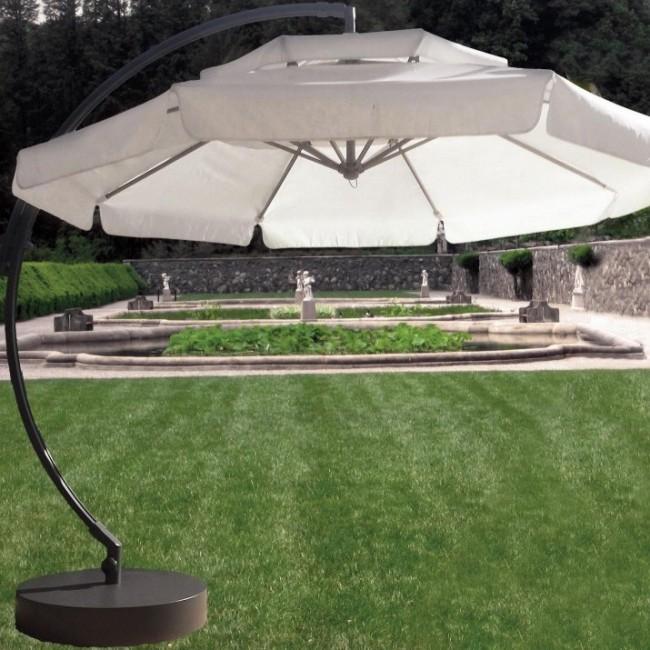 Parasol déporté pivotable et inclinable Castel 300-diamètre 300 cm HEVEA
