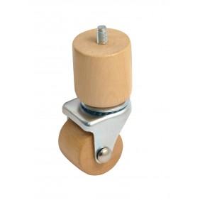 Roulette en bois sur platine pivotante - charge 60 kg AVL