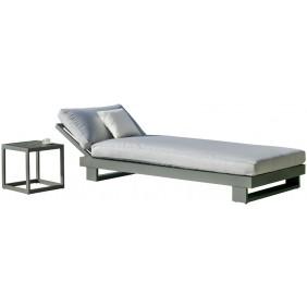 Bain de soleil - aluminium anthracite - coussins gris clair - Amayes INDOOR OUTDOOR
