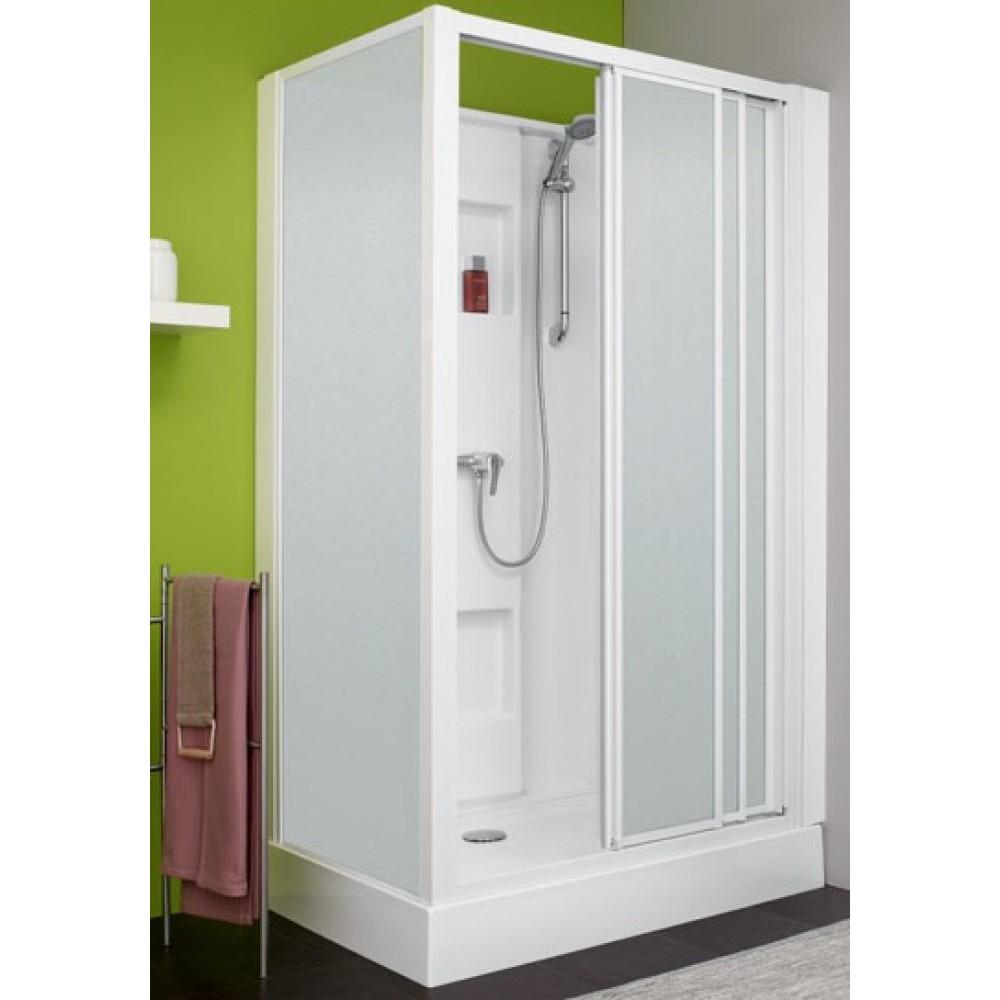 cabine de douche 100 x 80 cm acc s de face 3 vantaux. Black Bedroom Furniture Sets. Home Design Ideas