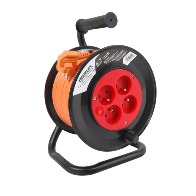 Enrouleur + 4 prises - HO5VVF 3G1.5 DEBFLEX