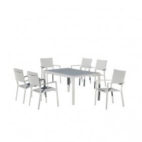 Salon de jardin PALMA + 6 fauteuils ROMA HEVEA
