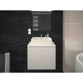 Meuble de salle de bain 60 cm - Cologne - Blanc laqué ou Gris mat LYNCO