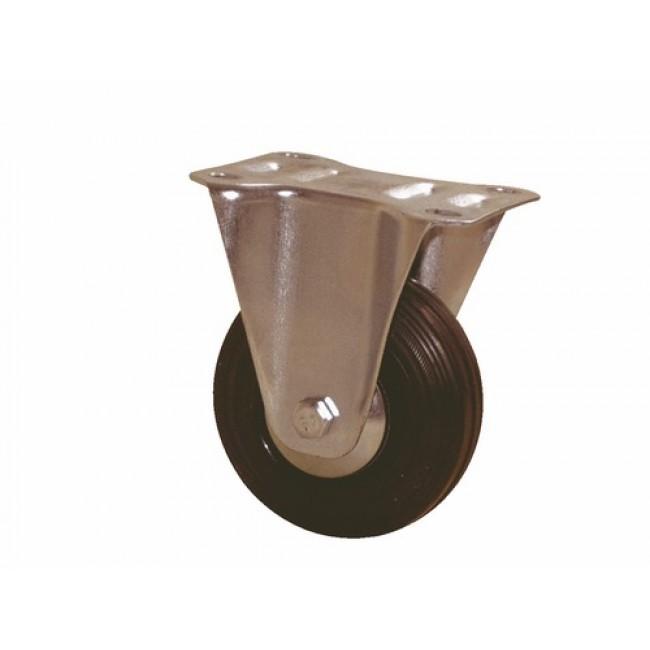 Roulette sur platine fixe - bandage noir silencieux - Port-Roll GUITEL